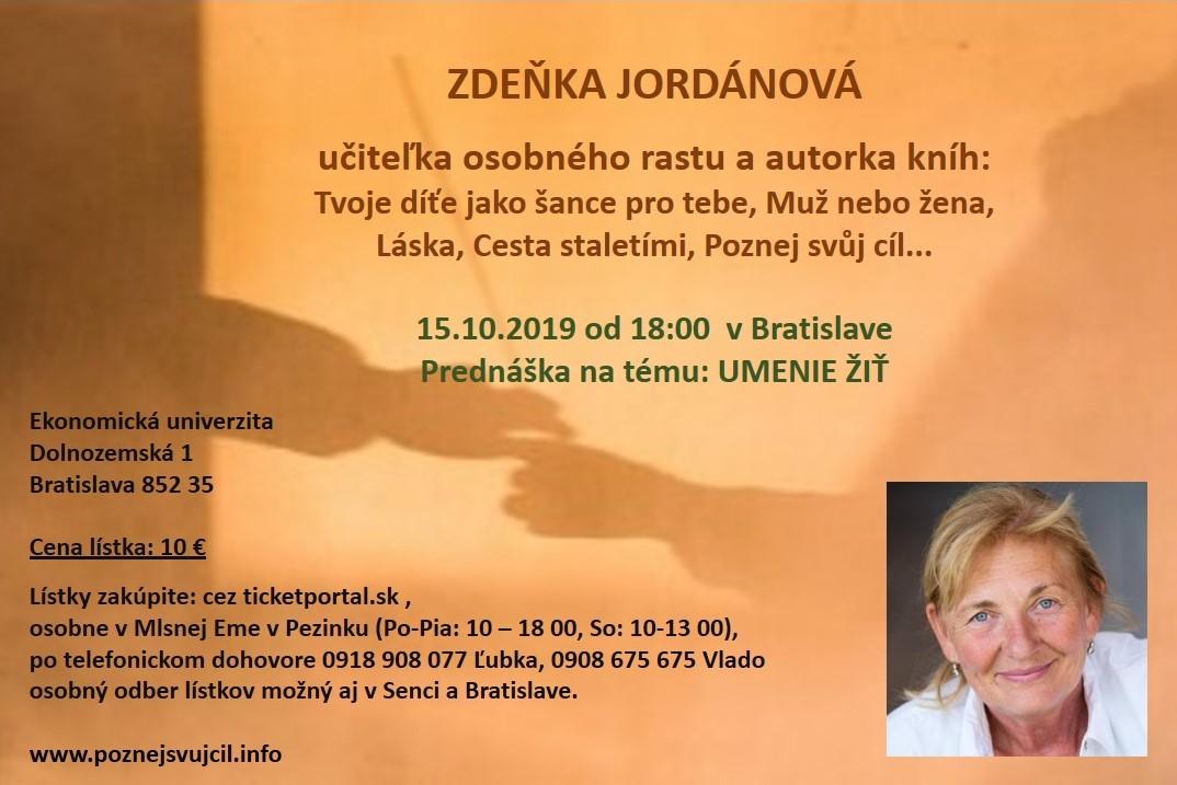 picture Umenie žiť - prednáška Zdeňky Jordánovej