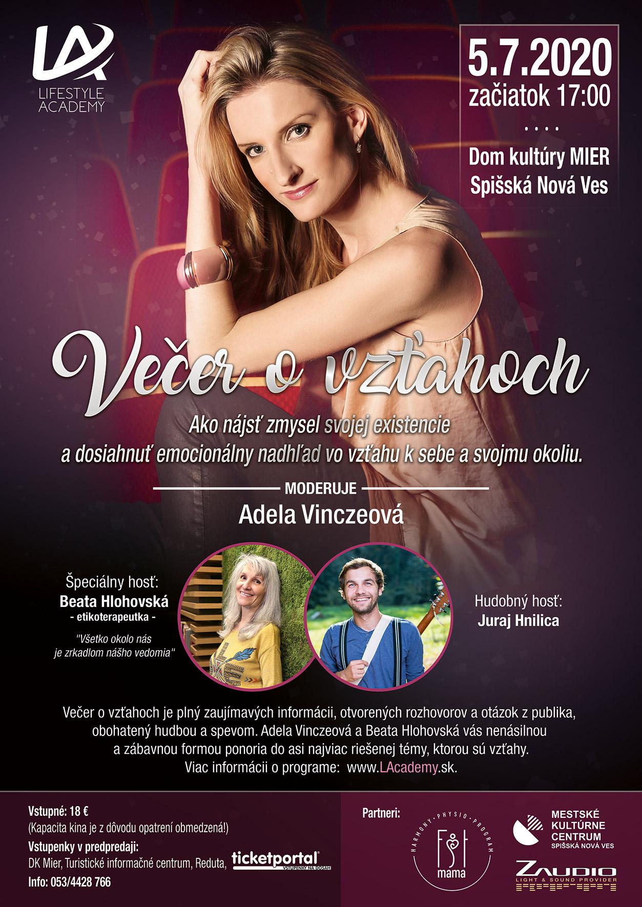picture VEČER O VZŤAHOCH s Adelou Vinczeovou